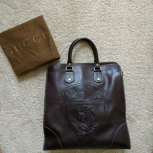 Extra Large Gucci Leather Tote Authentic Brown